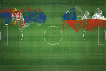 Serbia vs Chile Soccer Match, national colors, national flags, soccer field, football game, Competition concept, Copy space