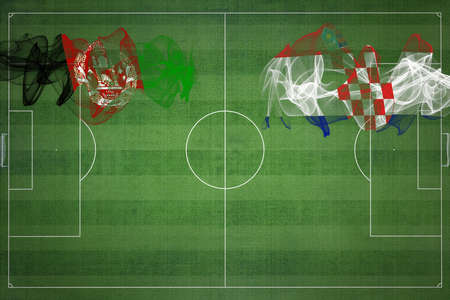 Afghanistan vs Croatia Soccer Match, national colors, national flags, soccer field, football game, Competition concept, Copy space