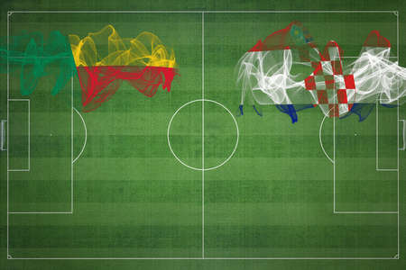 Benin vs Croatia Soccer Match, national colors, national flags, soccer field, football game, Competition concept, Copy space