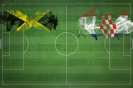 Jamaica vs Croatia Soccer Match, national colors, national flags, soccer field, football game, Competition concept, Copy space