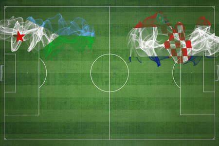 Djibouti vs Croatia Soccer Match, national colors, national flags, soccer field, football game, Competition concept, Copy space
