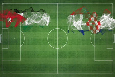 Jordan vs Croatia Soccer Match, national colors, national flags, soccer field, football game, Competition concept, Copy space