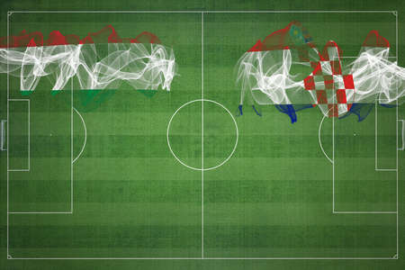 Hungary vs Croatia Soccer Match, national colors, national flags, soccer field, football game, Competition concept, Copy space