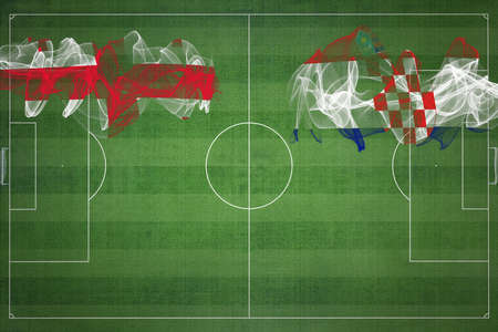 Georgia vs Croatia Soccer Match, national colors, national flags, soccer field, football game, Competition concept, Copy space