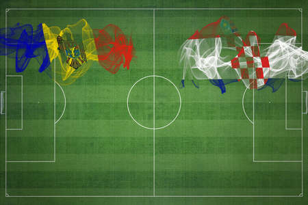 Moldova vs Croatia Soccer Match, national colors, national flags, soccer field, football game, Competition concept, Copy space