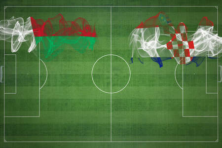 Madagascar vs Croatia Soccer Match, national colors, national flags, soccer field, football game, Competition concept, Copy space