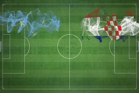 Micronesia vs Croatia Soccer Match, national colors, national flags, soccer field, football game, Competition concept, Copy space