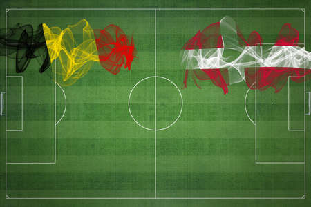 Belgium vs Denmark Soccer Match, national colors, national flags, soccer field, football game, Competition concept, Copy space