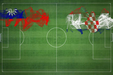 Taiwan vs Croatia Soccer Match, national colors, national flags, soccer field, football game, Competition concept, Copy space
