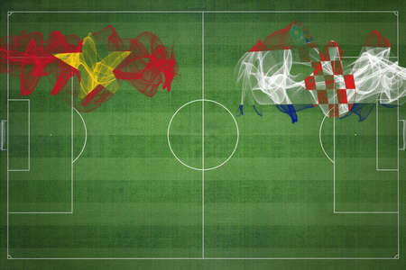 Vietnam vs Croatia Soccer Match, national colors, national flags, soccer field, football game, Competition concept, Copy space