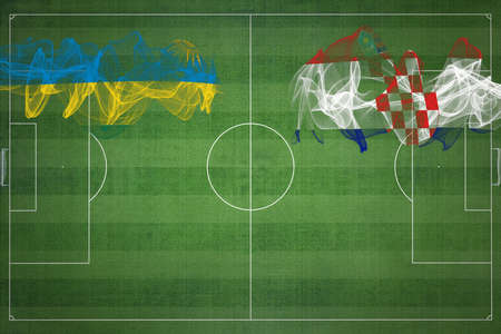 Rwanda vs Croatia Soccer Match, national colors, national flags, soccer field, football game, Competition concept, Copy space