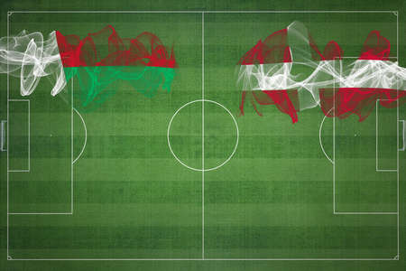 Madagascar vs Denmark Soccer Match, national colors, national flags, soccer field, football game, Competition concept, Copy space