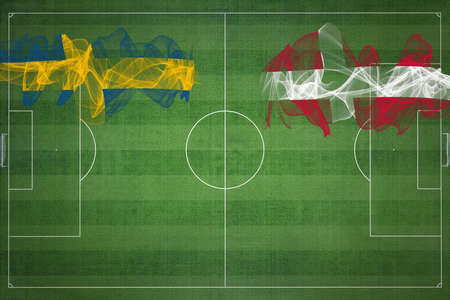 Sweden vs Denmark Soccer Match, national colors, national flags, soccer field, football game, Competition concept, Copy space