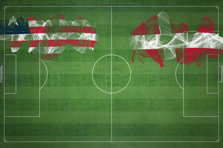 Liberia vs Denmark Soccer Match, national colors, national flags, soccer field, football game, Competition concept, Copy space