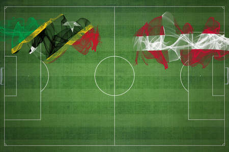 Saint Kitts and Nevis vs Denmark Soccer Match, national colors, national flags, soccer field, football game, Competition concept, Copy space