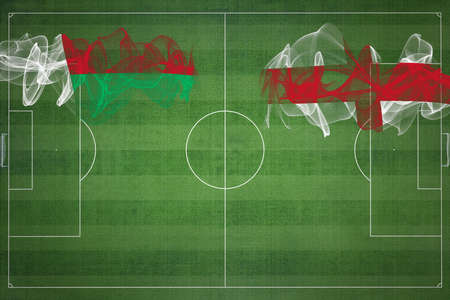 Madagascar vs England Soccer Match, national colors, national flags, soccer field, football game, Competition concept, Copy space