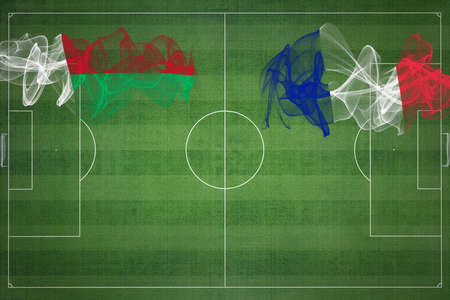 Madagascar vs France Soccer Match, national colors, national flags, soccer field, football game, Competition concept, Copy space Фото со стока