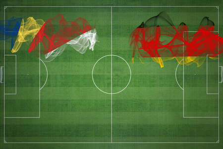Seychelles vs Germany Soccer Match, national colors, national flags, soccer field, football game, Competition concept, Copy space