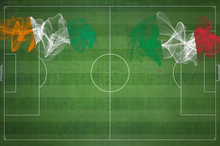 Ivory Coast vs Italy Soccer Match, national colors, national flags, soccer field, football game, Competition concept, Copy space