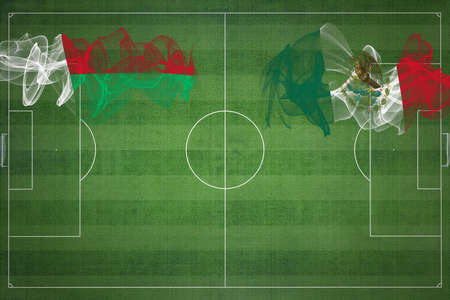 Madagascar vs Mexico Soccer Match, national colors, national flags, soccer field, football game, Competition concept, Copy space