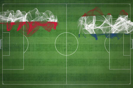 Poland vs Netherlands Soccer Match, national colors, national flags, soccer field, football game, Competition concept, Copy space Stok Fotoğraf