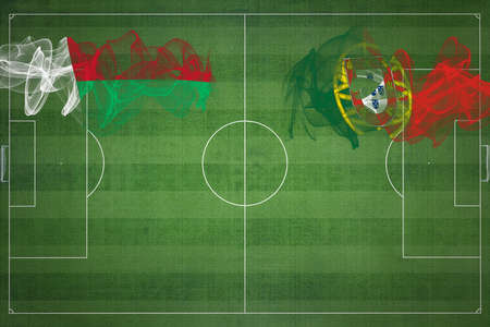 Madagascar vs Portugal Soccer Match, national colors, national flags, soccer field, football game, Competition concept, Copy space