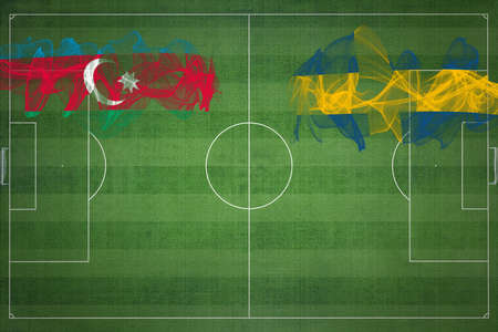 Azerbaijan vs Sweden Soccer Match, national colors, national flags, soccer field, football game, Competition concept, Copy space Standard-Bild