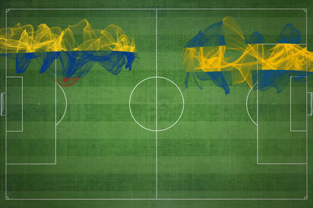 Colombia vs Sweden Soccer Match, national colors, national flags, soccer field, football game, Competition concept, Copy space