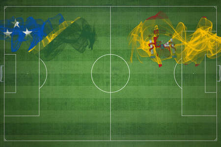 Solomon Islands vs Spain Soccer Match, national colors, national flags, soccer field, football game, Competition concept, Copy space