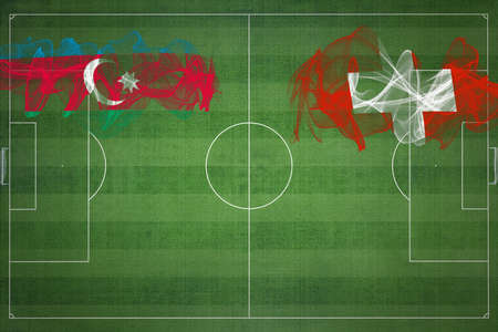 Azerbaijan vs Switzerland Soccer Match, national colors, national flags, soccer field, football game, Competition concept, Copy space
