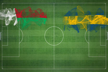 Madagascar vs Sweden Soccer Match, national colors, national flags, soccer field, football game, Competition concept, Copy space