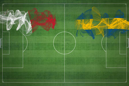 Malta vs Sweden Soccer Match, national colors, national flags, soccer field, football game, Competition concept, Copy space Standard-Bild