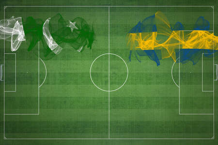 Pakistan vs Sweden Soccer Match, national colors, national flags, soccer field, football game, Competition concept, Copy space
