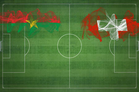 Burkina Faso vs Switzerland Soccer Match, national colors, national flags, soccer field, football game, Competition concept, Copy space