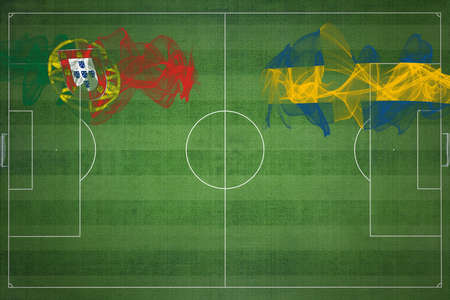 Portugal vs Sweden Soccer Match, national colors, national flags, soccer field, football game, Competition concept, Copy space