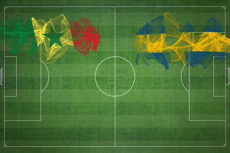 Senegal vs Sweden Soccer Match, national colors, national flags, soccer field, football game, Competition concept, Copy space