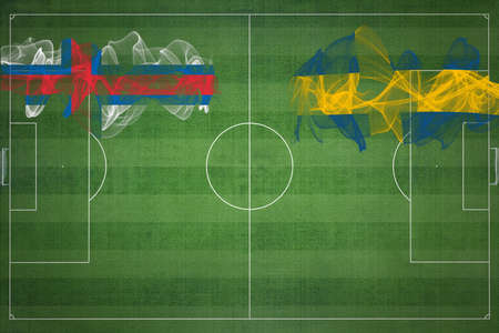Faroe Islands vs Sweden Soccer Match, national colors, national flags, soccer field, football game, Competition concept, Copy space Standard-Bild