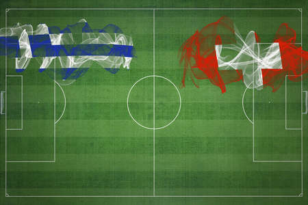 Greece vs Switzerland Soccer Match, national colors, national flags, soccer field, football game, Competition concept, Copy space