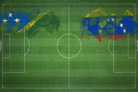 Solomon Islands vs Venezuela Soccer Match, national colors, national flags, soccer field, football game, Competition concept, Copy space
