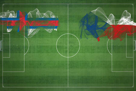 Faroe Islands vs Czech Republic Soccer Match, national colors, national flags, soccer field, football game, Competition concept, Copy space Stock fotó