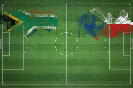 South Africa vs Czech Republic Soccer Match, national colors, national flags, soccer field, football game, Competition concept, Copy space