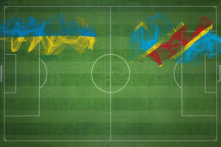 Rwanda vs DR Congo Soccer Match, national colors, national flags, soccer field, football game, Competition concept, Copy space