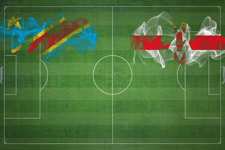 Democratic Republic of Congo vs Northern Ireland Soccer Match, national colors, national flags, soccer field, football game, Competition concept, Copy space