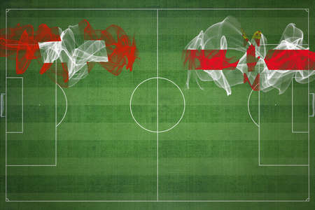 Switzerland vs Northern Ireland Soccer Match, national colors, national flags, soccer field, football game, Competition concept, Copy space