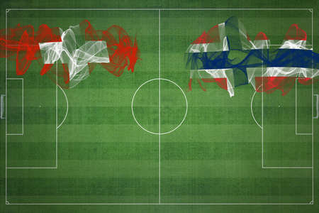 Switzerland vs Norway Soccer Match, national colors, national flags, soccer field, football game, Competition concept, Copy space