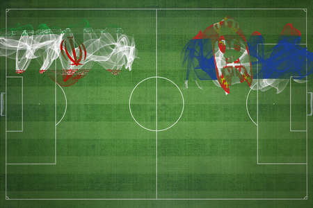Iran vs Serbia Soccer Match, national colors, national flags, soccer field, football game, Competition concept, Copy space
