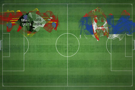 Eswatini vs Serbia Soccer Match, national colors, national flags, soccer field, football game, Competition concept, Copy space 版權商用圖片