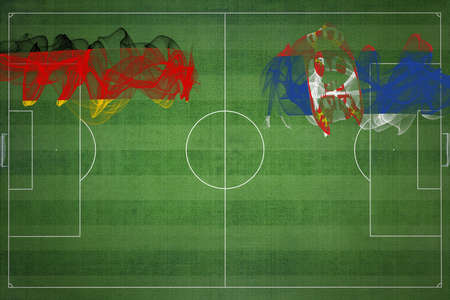 Germany vs Serbia Soccer Match, national colors, national flags, soccer field, football game, Competition concept, Copy space 版權商用圖片