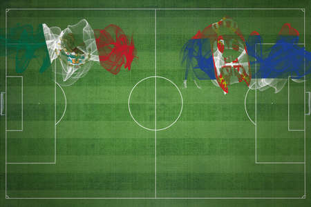 Mexico vs Serbia Soccer Match, national colors, national flags, soccer field, football game, Competition concept, Copy space