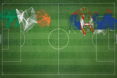 Ireland vs Serbia Soccer Match, national colors, national flags, soccer field, football game, Competition concept, Copy space 版權商用圖片